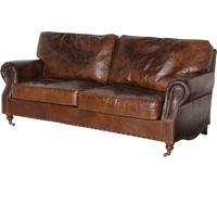 Crumpled Leather Three Seater Sofa