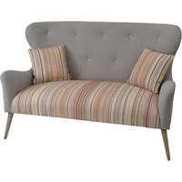 Ergo Retro Button Back Striped Two Seater Sofa