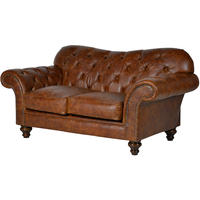 Jeeves Brown Leather Buttoned 2 Seater Sofa