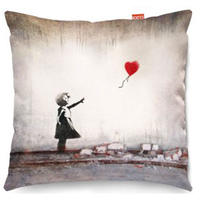 Banksy Heart Balloon Sofa Cushion - 2 Sizes