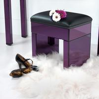 Fantastic Purple Re-Coverable Mirrored Stool