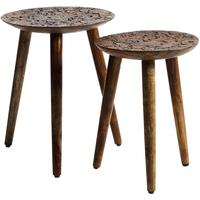 Carved Wooden Stools - Set of Two