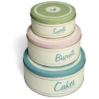 Set of Stacking Kitchen Tins in Pastel Design
