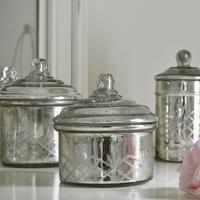 Antique Silver Glass Jars - Set of 3