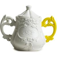 White Porcelain Sugar Bowl with Yellow Handle
