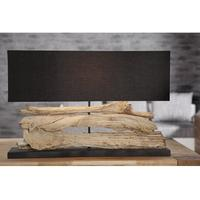 RUSTIQUE V - impressive design driftwood table lamp 80cm handmade black shade desk light