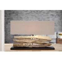 Rustique VI handmade driftwood table lamp 80cm with beige shade