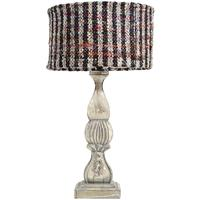 Carved Wood Table Lamp with Striped Shade