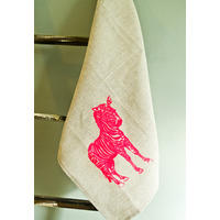 Natural linen tea towel with neon pink zebra print.  Crossing!