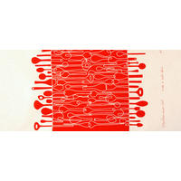 Red Borrowed Spoons Tea Towel