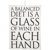 A Balanced Diet Is A Glass Of Wine Tea Towel