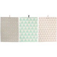Bloomingville - Set of 3 Assorted Tea Towels - Mint/Rose/Grey