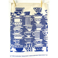 """When Everyone Came to Tea"" Tea Towel - Blue"