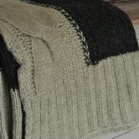 Camel and Charcoal Cable Knit Throw