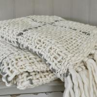 Cream Check Chunky Knit Throw