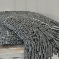 Grey Check Chunky Knit Throw