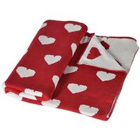 Red Knitted Hearts Throw