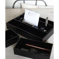 Set of 4 Black Lacquer Trays
