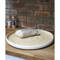 Round Tray - White Pressed Bamboo Lacquer