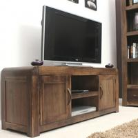 Chunky Solid Walnut TV Unit/ Cabinet