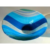Handmade Striped Fused Glass Small Bowl – Blue