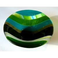 Handmade Striped Fused Glass Small Bowl – Green