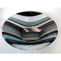 Handmade Striped Fused Glass Large Bowl in Grey