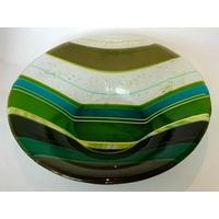Handmade Striped Fused Glass Large Bowl – Green