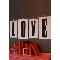 Love - Hand-printed wall art created using vintage Circus type.  Love Letter!
