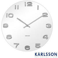 Vintage Round Glass Wall Clock (White)