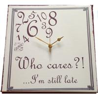 Who Cares I'm Still Late/whatever I'm late anyways Wall Clock (cream)