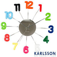 Karlsson Spider Numbers Multi Coloured Clock