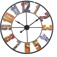 Large Multi Colour Metal Wall Clock