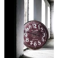 Large Red Wooden Wall Clock