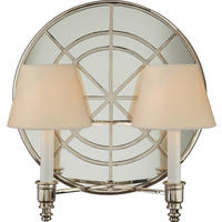 Round Venetian Polished Nickel Double Shaded Mirrored Wall Light