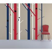 Red, White and Blue Abstract Trees Wall Sticker