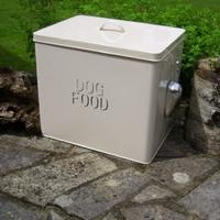 Extra-Large Cream Enamelled Dog Food Bin + Scoop