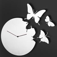 White Butterfly Clock