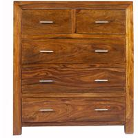 Cube Sheesham 2 Over 3 Bedroom Chest Rustic Hardwood