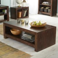 Dakota Mango Contemporary Coffee Table Large Rustic Hardwood