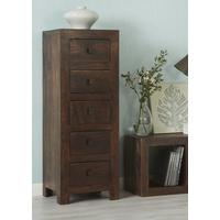 Dakota Mango Tall Boy Chest of 5 Drawers Rustic Hardwood