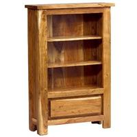 Acacia Chunky Top Low Bookcase with drawer  by Verty furniture