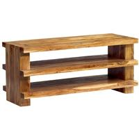 Acacia Plasma Unit - Rustic With 3 Shelves