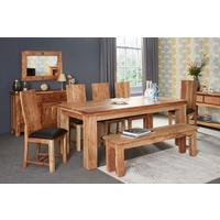 Acacia Dining Table - Large Rustic with 6 Chairs
