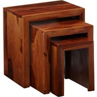 Cube Sheesham Nest of 3 Tables by Verty furniture