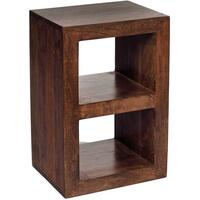 Dakota Mango Wood 2 Hole Cube Shelving Unit Walnut Colour