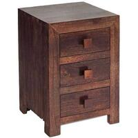Dakota Mango 3 Drawer Bedside Table