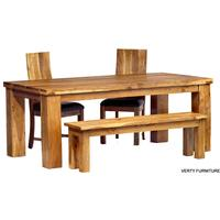 Acacia Dining Table - Large with Bench and 4 Chairs by Verty furniture