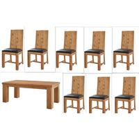 Acacia Dining Table - Large with 8 Chairs by Verty furniture