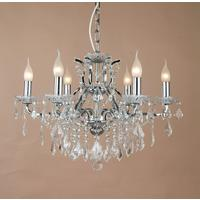 Shallow Six Arm Chrome Chandelier